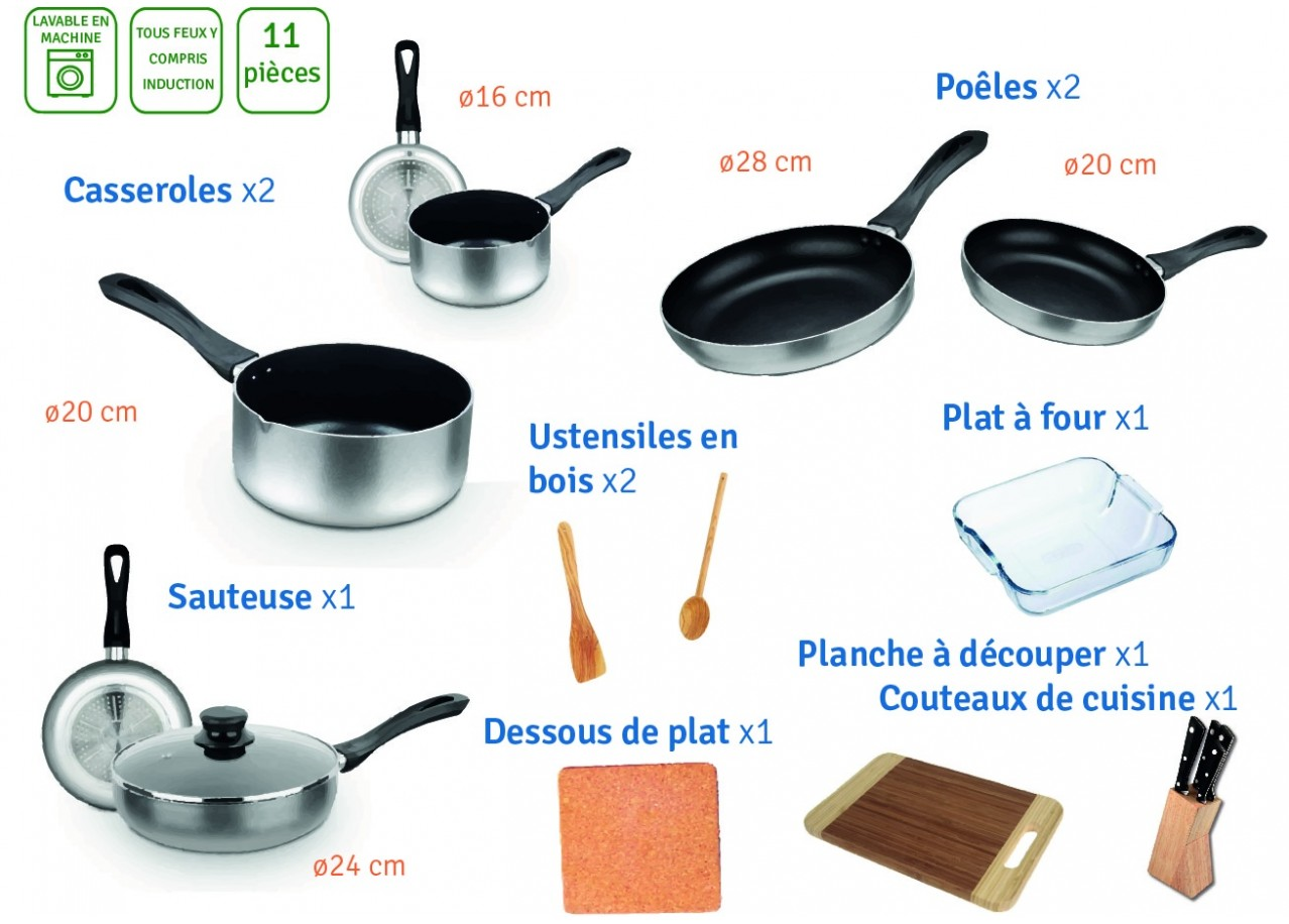 Rent casserole et ustensile 11 pi ces cookware rental - Materiel de cuisine occasion professionnel ...